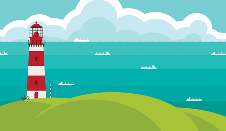 earth day: Seascape with lighthouse on the hill above the water. Vector illustration with hills, sea, ships and sky with clouds in flat style.