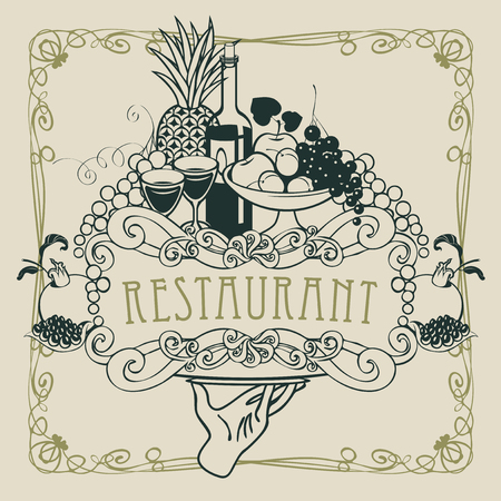 style: Vector restaurant menu with a picture of a hand with a tray on which is a still life with two glasses of wine, bottle and fruits in a Baroque style with a curly frame.