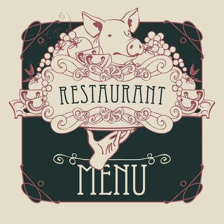 トレイに手の画像ベクトル レストランのメニューは豚、野菜、チーズ巻きフレームとバロック様式の静物