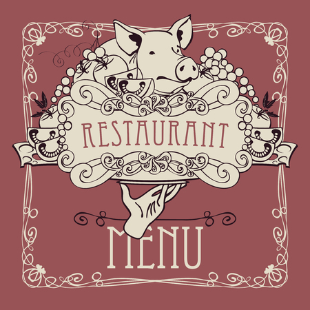 style: Vector restaurant menu with a picture of a hand with a tray on which is a still life with piglet, vegetables and cheese in a Baroque style with a curly frame.