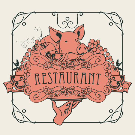 Vector restaurant menu with a picture of a hand with a tray on which is a still life with piglet, vegetables and cheese in a Baroque style with a curly frame.