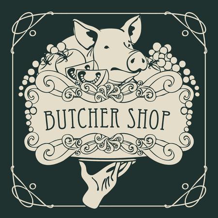 ピグレット、野菜とチーズ巻きフレームとバロック様式の静物にはトレイを持つ手の絵の精肉店のバナーをベクトルします。