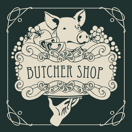 Vector banner for the butcher shop with a picture of a hand with a tray on which is a still life with piglet, vegetables and cheese in a Baroque style with a curly frame.