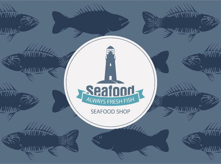 underwater fishes: Vector banner for seafood shop with a lighthouse and words always fresh fish on the blue seamless background of fish in retro style.