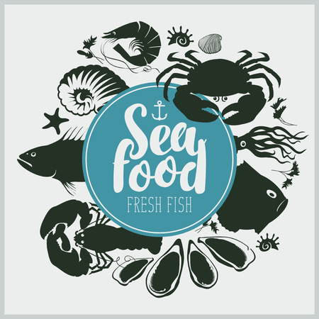vector emblem for seafood with a ship anchor, inscription and drawings fishes, crustaceans, mussels and other sea inhabitants Illustration