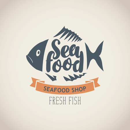 Vector emblem or banner for seafood shop with decorative fish, inscription seafood and words fresh fish on the beige background in retro style. Illustration