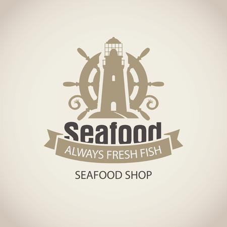 L'emblème vectoriel ou la bannière pour le magasin de fruits de mer avec une barre de bateau, un phare et des mots toujours du poisson frais sur le fond beige en style rétro.