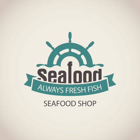helm: Vector emblem or banner for seafood shop with a ship helm, wave and words always fresh fish on the beige background in retro style.