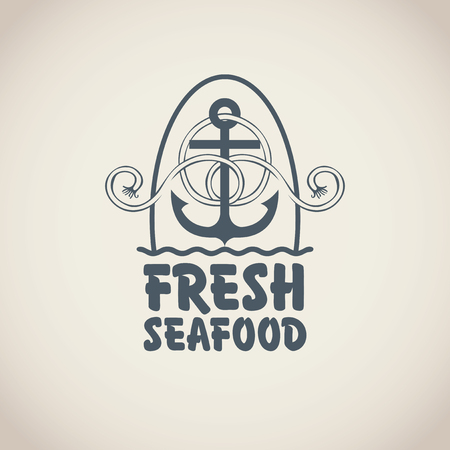 cover: Vector emblem or banner for fresh seafood with an anchor, rope and words on the beige background in retro style.
