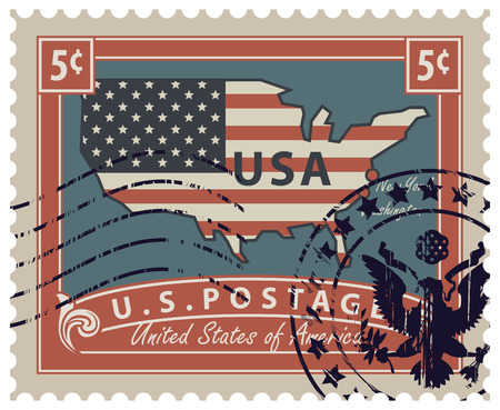 star: Map of America in colors of the national flag with inscription. Vector illustration of a 5-cent USA postage stamp with a rubber stamp in retro style.