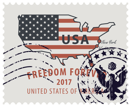 red america: Map of America in colors of the national flag with red inscription freedom forever. Vector illustration of USA postage stamp with a rubber stamp. Illustration