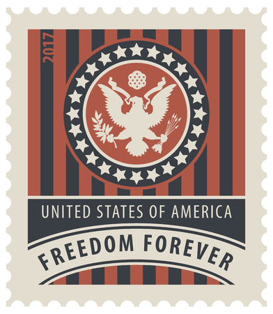 freedom: Vector USA postage stamp with the eagle on the great seal of the United States in the colors of the American flag with the words freedom forever.