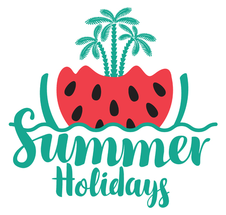 Vector calligraphic green inscription summer holidays with watermelon, wave and three palm trees. Travel summer banner Illustration