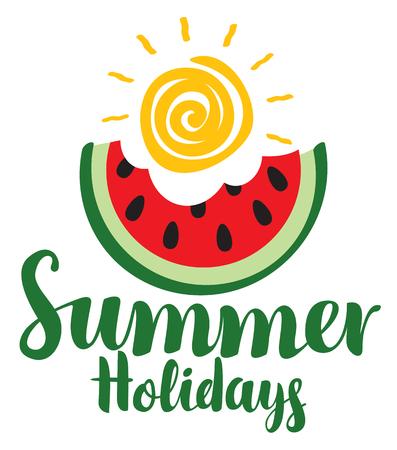벡터 붓글씨 녹색 비문 여름 수 분 물린 된 슬라이스 수 박과 반짝이 태양. 여행 여름 배너