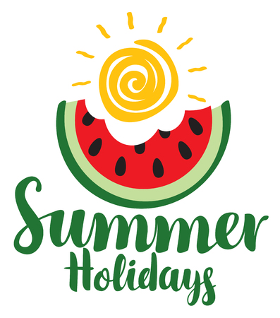 Vector calligraphic green inscription summer holidays with bitten slice of watermelon and shiny sun. Travel summer banner