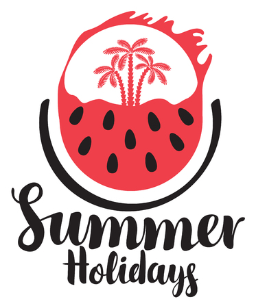 Vector calligraphic black inscription hello summer with watermelon and three palm trees on the background of the scorching sun. Travel summer banner