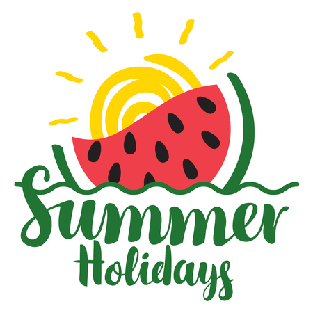 Vector calligraphic green inscription summer holidays with watermelon, wave and sun. Travel summer banner