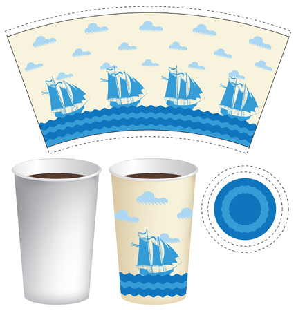 waves: Vector template paper Cup for hot drinks with sailing ships in the sea and the clouds in the sky Illustration