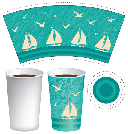 pattern: Vector template paper Cup for hot drinks with sailboats in the sea and the seagulls in the sky