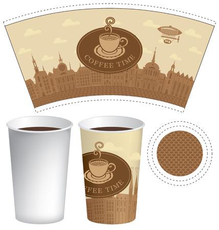 Modello vettoriale tazza di carta per la bevanda calda con le parole caffè tempo e tazza di caffè su uno sfondo di città vecchia con airship e nuvole.