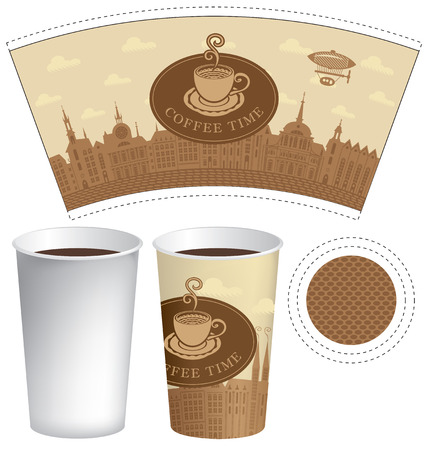 Vector template paper cup for hot drink with the words coffee time and cup of coffee on a background of old town with airship and clouds.