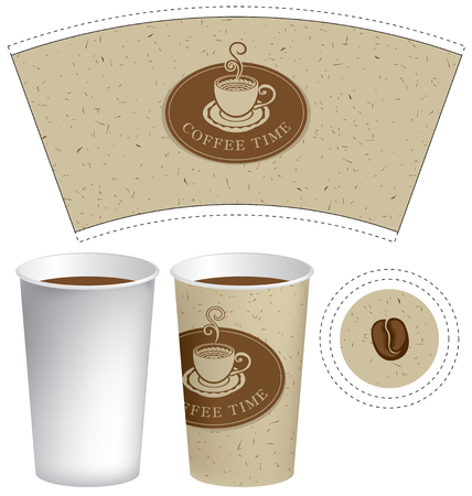 brown: Vector template paper cup for hot drink with the words coffee time and cup of coffee on a beige background with the texture of the cardboard. Illustration