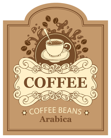 arabica: design vector label for coffee beans arabica with cup and splashes in Baroque style on the background in the frame