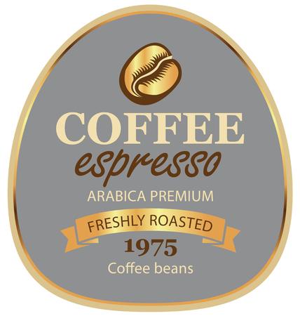 Ontwerp vector label voor arabica van koffiebonen met een graan en lint in retro stijl op grijze achtergrond in een gouden frame met inscriptie espresso.