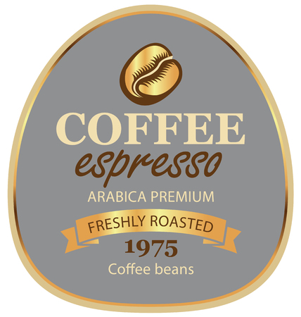 Design vector label for coffee beans arabica with a grain and ribbon in retro style on gray background in a gold frame with inscription espresso.
