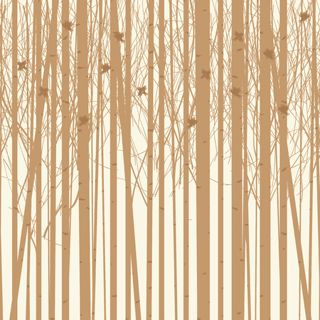 Seamless vector texture with a picture of the forest of trees with birds. Birch forest vector background. Birch grove pattern.