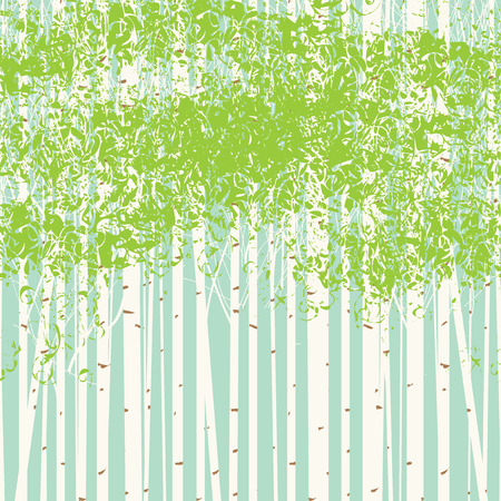 Vector seamless texture with the image of the birch trees on blue sky background. Spring birch forest vector background. Illusztráció