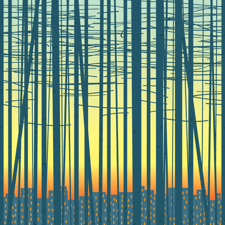 Vector seamless texture with silhouettes of trees against the evening city. Birch forest vector background. Illusztráció