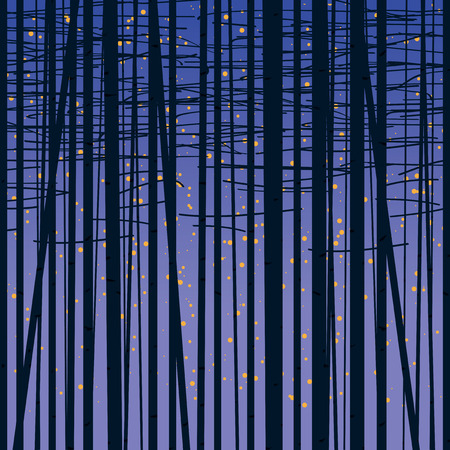 Texture vectorielle continue avec une image de la forêt d'arbres contre le ciel étoilé. Fond de vecteur de forêt de bouleau. Motif de bouleau. Le fond de la nuit avec des arbres