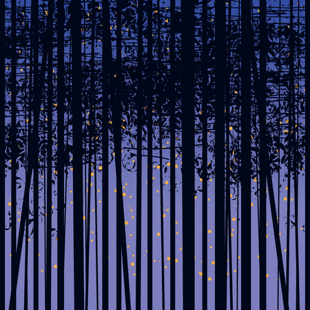 Seamless vector texture with a picture of the forest of trees against the starry sky, Birch forest vector background, Birch grove pattern, The night background with trees Illusztráció
