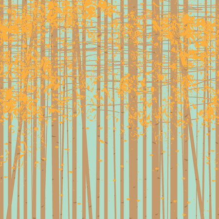 A seamless texture with the image of the autumn trees on blue sky background. Autumn forest background.