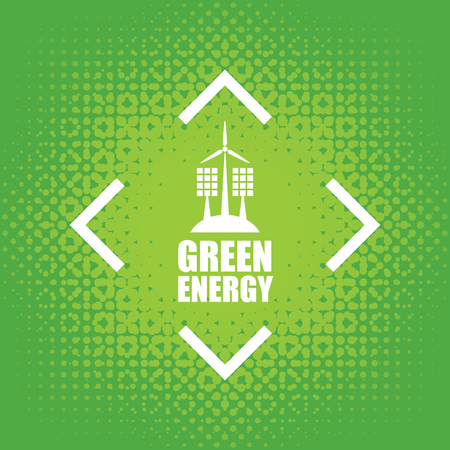 panels: Vector banner green energy. Concept of green energy with solar panels and wind turbines on abstract green background Illustration