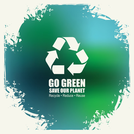 exciting: Go Green Recycle Reduce Reuse Eco Poster Concept. Vector Creative Organic illustration on abstract colored background. Save our planet Illustration