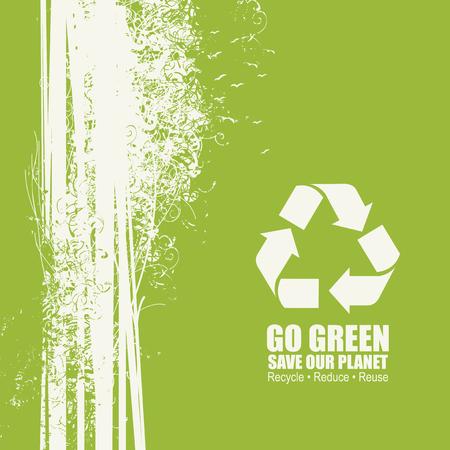 Go Green Riciclare Ridurre il concetto di riutilizzo del poster Eco. Illustrazione vettoriale creativa di vettore su sfondo verde. Salvare il nostro pianeta Vettoriali