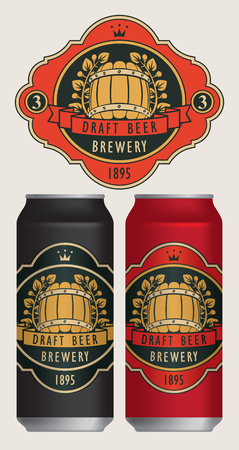 Two templates labels for draft beer on beer cans.