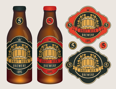 Vector beer labels with barrel, laurel wreath, ribbon and crown in retro style on a red and black background. Two template labels for draft beer and neck labels on glass bottles with caps. Иллюстрация