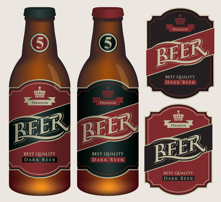 Two vector beer labels in retro style on black and red background. Templates labels for dark beer on glass bottles. Иллюстрация