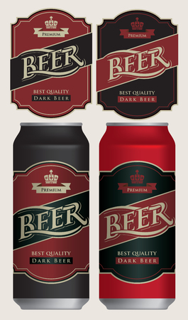 Two vector beer labels in retro style on black and red background. Templates labels for dark beer on beer cans.