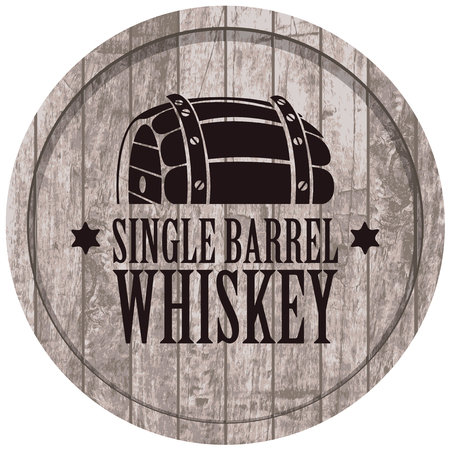 Vector banner with Single barrel whiskey on a a gray wooden background in retro style. Çizim