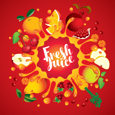 Vector banner with inscription fresh juice. Various fruits and berries, arranged in a circle and squirt juice on red background Illustration