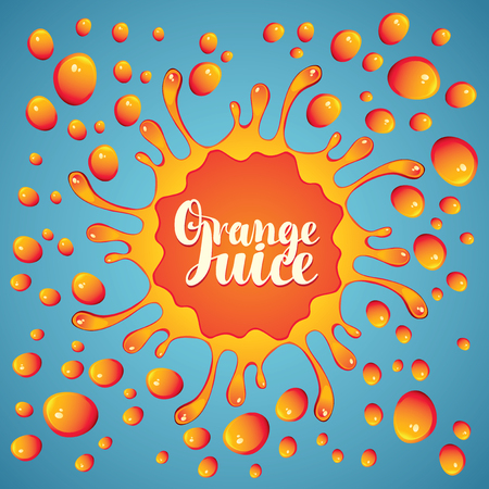 Vector banner with inscription orange juice, drops and splashes juice on blue background