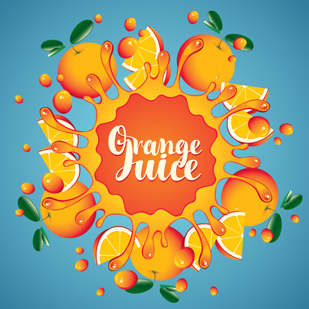 Vector banner with inscription orange juice. Whole oranges and slices arranged in a circle and squirt juice on blue background Illustration