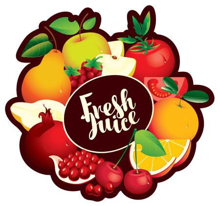 Vector emblem for fresh juice with inscription and various fruits, berries and vegetables arranged in a circle