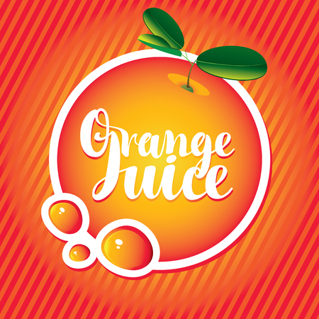 ripe: Vector banner with orange, drop of juice and inscription orange juice in a round frame on a red striped background