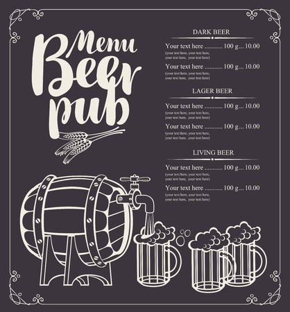 sketch: Vector menu for beer pub with barrel and full beer glasses in retro style. Drawing chalk on a wooden board with inscription and price list.