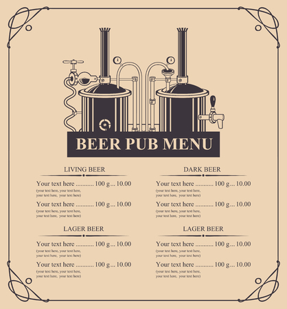 Vector menu for beer pub with price list and beer production in retro style in curly frame.